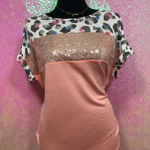 Tops - Peach and leopard sequins top